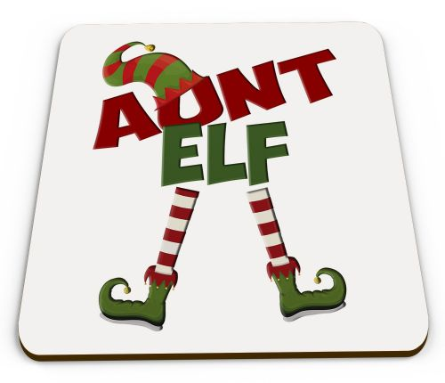 Christmas Elf Funny Novelty Glossy Coaster - Female Titles